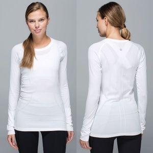 Lululemon White Swiftly Tech Long Sleeve Shirt